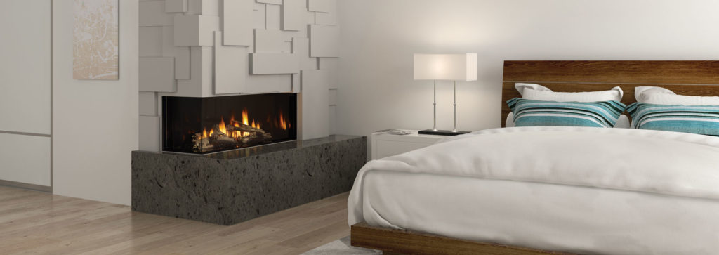 A see through fireplace in a bedroom space with a beautiful paneled wall.