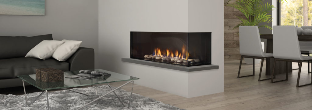 A corner fireplace in a living room area inside a wall feature helps separate this modern room.